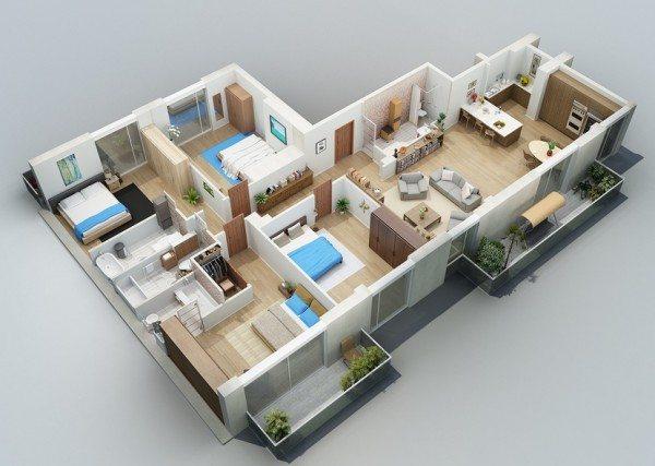 Denah Rumah 3 Kamar Tidur 1 Lantai Desain Gambar Foto Tipe Rumah